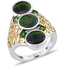 Ammolite Diopside 14K YG and Platinum Plated Sterling Silver Openwork Elongated Ring