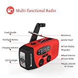 Upgraded-VersionRunningSnail-Emergency-Hand-Crank-Self-Powered-AMFM-NOAA-Solar-Weather-Radio-with-LED-Flashlight-1000mAh-Power-Bank-for-iPhoneSmart-Phone
