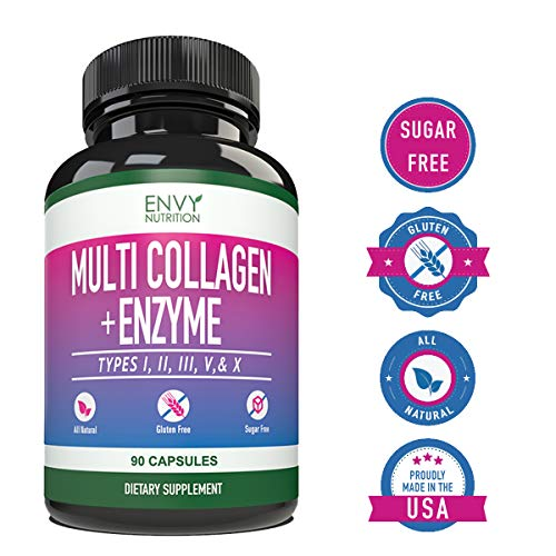 51g1Nr%2BkbJL - Multi-Collagen + Enzyme Capsules (Types I, II, III, V and X) - Collagen peptides Supplement for Skin, Joints, Heart, Muscle, Bone and Healthy Digestion - 90 Collagen Capsules.
