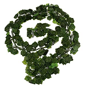 ULTNICE Artificial Wall Hanging Ivy Foliage Leaf Decor 6.5ft 12pcs- Grape Leaf 60