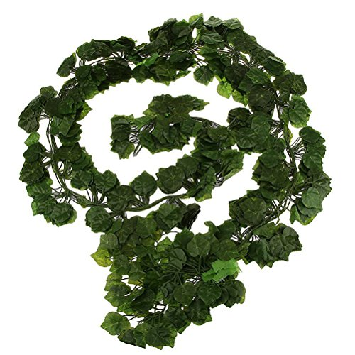 Artificial Ivy Vine Fake Hanging Plant Leaves Garland Home Garden Wall Decoration Wedding Garlands Poison Ivy Costume Wedding Decor 12pcs]()