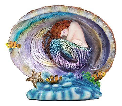 Ebros Sheila Wolk Mermaid Pearl Sleeping Mermaid Curled Inside An Oyster Shell Statue Natuical Ocean Sea World Under The Sea Decor (World Sea Statue)
