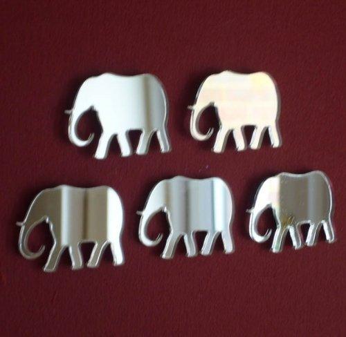 Pack of 10 x Elephant Mirror - 4cm x 3cm each (Decal Elephant Mirror Wall)