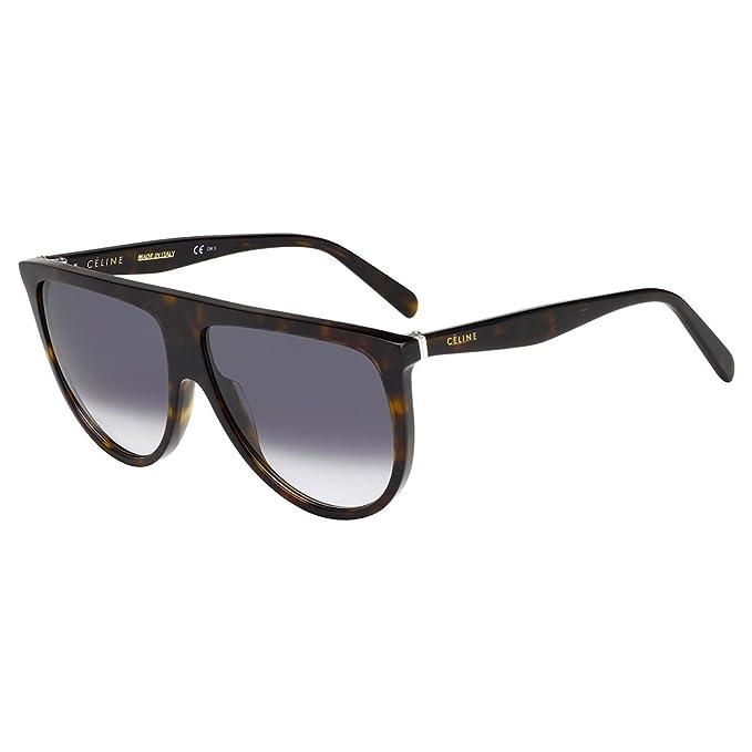 Céline Thin Shadow Gafas de sol, Havana/Grey, 61 para Mujer ...