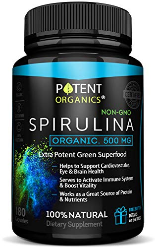 Eco-Pure Spirulina 500 mg – Organic, 100% Vegetarian & Non-GMO – No After Taste and Easy to Swallow Pills – Non-Irradiated Superfood Tablets – 180 Powder Capsules – Made in USA