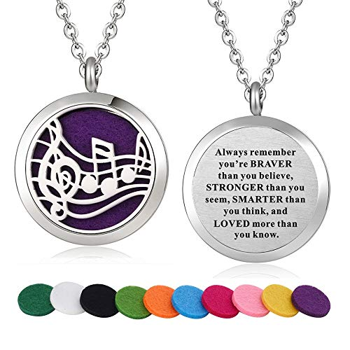 - WPFdesign Stainless Steel Music Note Aroma Therapy Aromatherapy Essential Oil Diffuser Necklace Locket Pendant (Style 23)