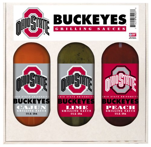 8 Pack OHIO STATE Buckeyes Grilling Gift Set 3-12 oz by Hot Sauce Harry's