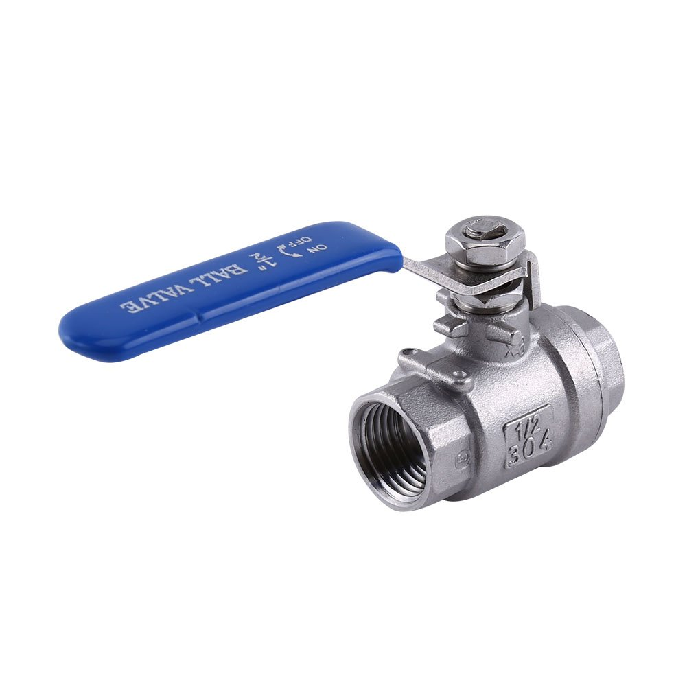 1//2 NPT Full Port 2 Way Rotary Lever Stainless Steel SS304 Two Piece Style Ball Valve WOG1000 Walfront