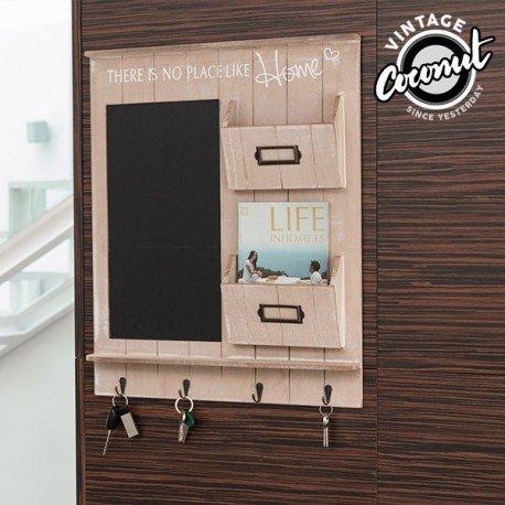 Memotafel Kreidetafel Wandboard Organizer Schlüsselbrett Holz braun - H60cm