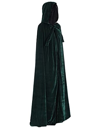 Amazon.com  BuyBro Green Velvet Costumes Hooded Cloaks Long Capes Robes  Halloween Cosplay  Clothing ed89bf5b9