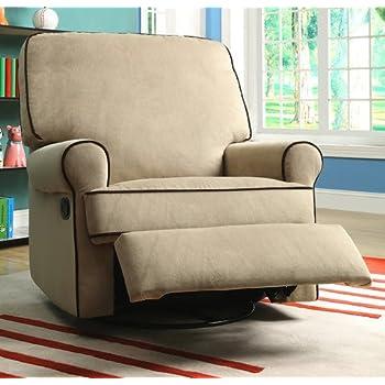 Best Home Chloe Sand Fabric Nursery Swivel Glider Living Room Recliner Chair