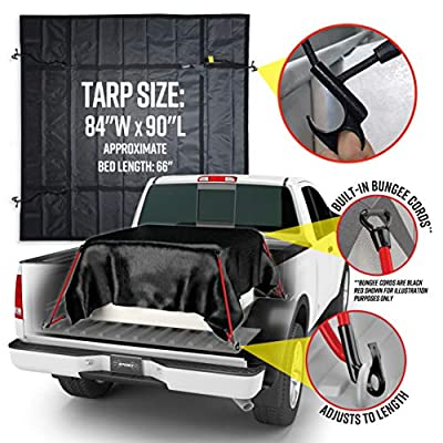 """SPIDER Smart Tarp, Waterproof Heavy Duty Truck Tarp Bed Cover with 4 Built in Attached Adjustable Bungee Cords, Cargo Net Alternative for Short Bed Trucks 7' x 7' 6"""": Automotive"""