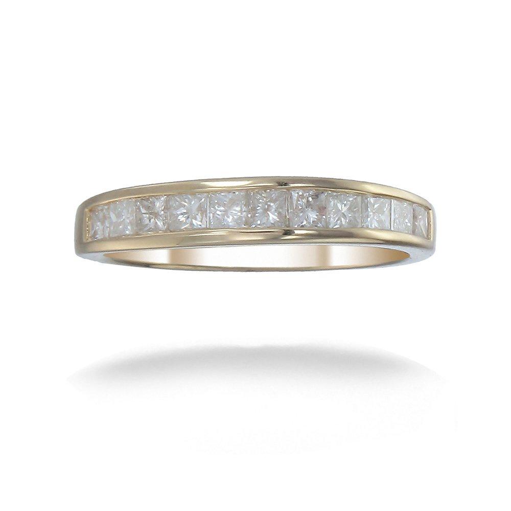 1 CT Princess Diamond Wedding Band in 14K Yellow Gold Size 7