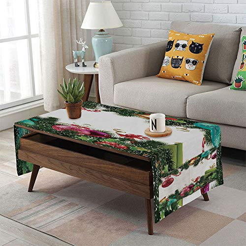 iPrint Linen Blend Tablecloth,Side Pocket Design,Rectangular Coffee Table Pad,Christmas,Happy New Year Greeting Decoration with Holly Garland Artful Design,Green Maroon,for Home Decor ()
