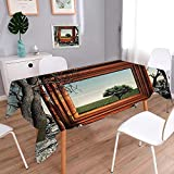 Jiahonghome Charcoal Rectangular Table Cloth Table in Washable Polyester Surreal Landscape Forest Tree in Frame Stones Art Photo Charcoal Grey Dark Orange Rectangular Polyester Tablecloth