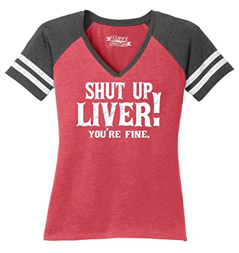 Beer Womens V-neck T-shirt - Comical Shirt Ladies Game V-Neck Tee Shut up Liver You're Fine Heathered Red/Heathered Charcoal L