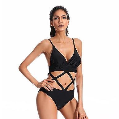 Kehuashina Bikini Negro Traje de baño de Las Mujeres Traje ...