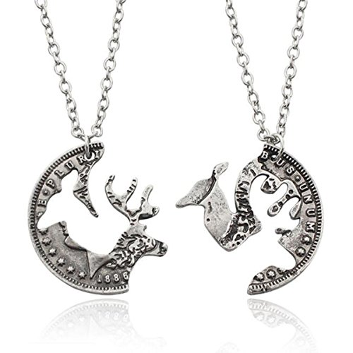 s Interlocking Elk Necklaces Couple Jewelry Hand Cut Coin Pendant Silver ()