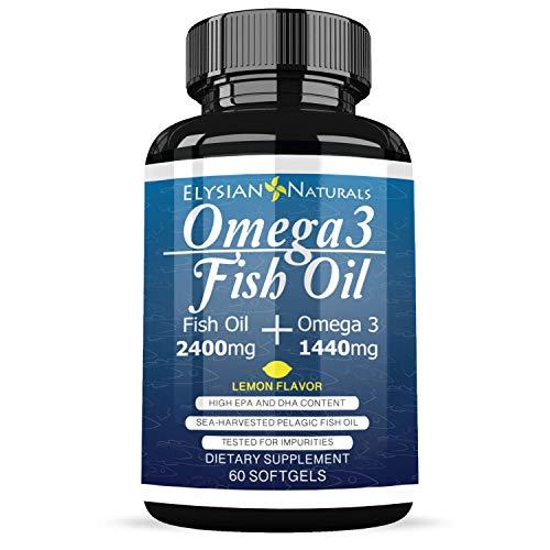 Triple Strength Omega 3 Fish Oil - 2400MG Capsule - Heart & Brain Health + Joint & Skin Support - Burpless Natural Lemon Flavor 30 Day Supply