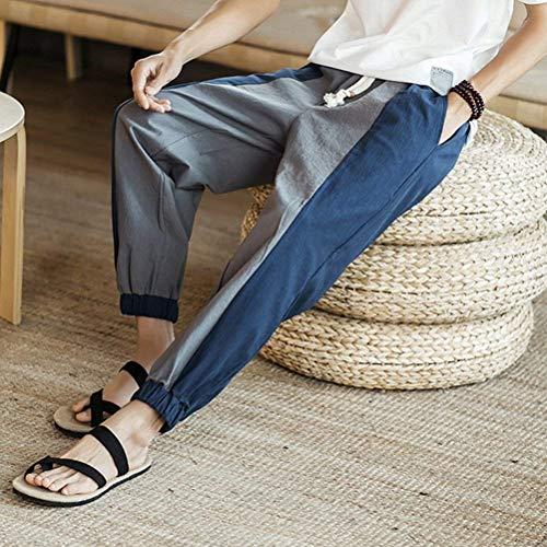 Moderne Et Pants Confortable Respirant Avec Léger Lâche Haidean Linen Hommes D'été Latérales Grau Décontracté Poches xP54wqC