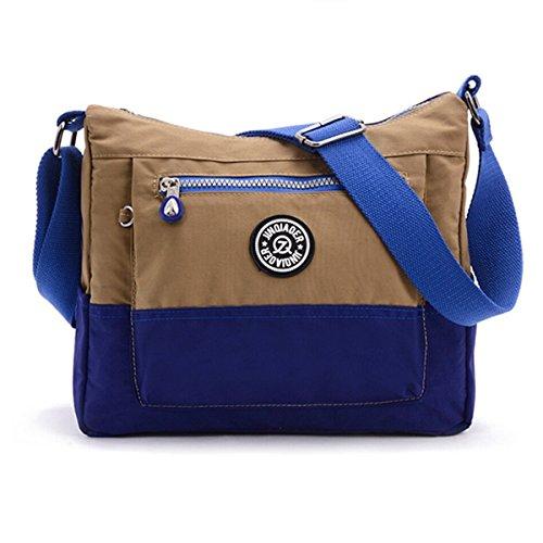 Bolso Tiny Chou con contrastes de colores, resistente al agua, de nailon, bolsa de hombro casual, cruzada al cuerpo, bolsa de viaje para niñas - caqui
