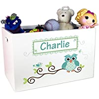 Personalized Blue Boys Owl Toy Box