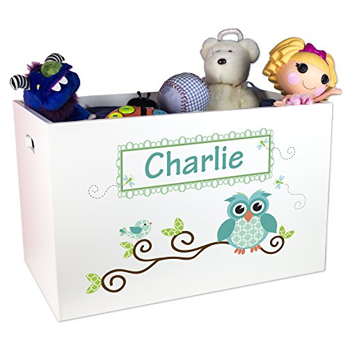 Personalized Blue Boys Owl Toy Box by MyBambino
