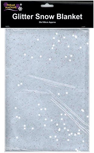 50cm x 100cm Glitter Snow Blanket Artificial Fake Christmas Decoration Scene Setter by Theme Machine Davies Products