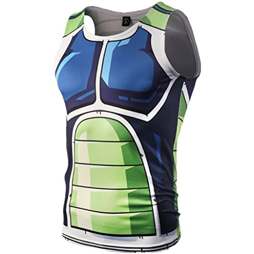 Tsyllyp Mens Compression Shirts 3D Cartoon Printed Tank Tops Sleeveless Vest -