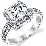 Damen Sterling Silber 925 Verlobungsring, Ehering Mit 2 Karat Prinzessin Schnitt Zirkonia Bequemlichkeit Passen,Größe 4 to 11