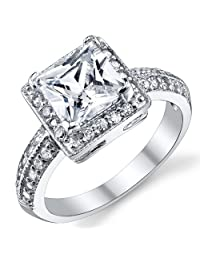 Metal Masters Co.® 2 Carat Princess Cut CZ Sterling Silver 925 Wedding Engagement Ring Sizes 4 to 11