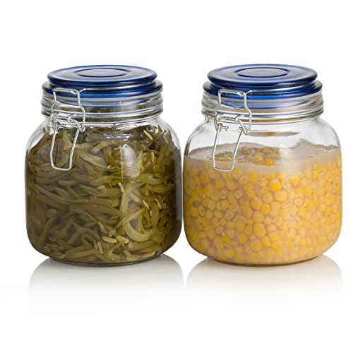 Medium 32 Ounce Jar (Klikel Square Glass Kitchen Storage Canister Jars - Crystal Clear Food Storage Jars With Blue Lid And Bail & Trigger Hermetic Seal - 32oz, (set of 2))