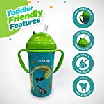 LuvLap Tiny Giffy Sipper / Sippy Cup 300ml, Anti-Spill Design with Soft Silicone Straw, 18m+ (Green)