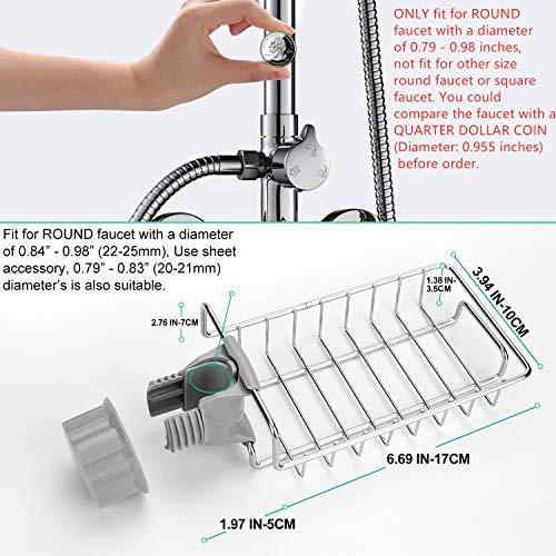 Kitchen Sponge Holder, NEXCURIO Sink Caddy Soap Brush Dishwashing Liquid Drainer Rack - Fix to Round Faucet - Stainless Steel Bathroom Shower Caddies Kitchen Sink Organizer