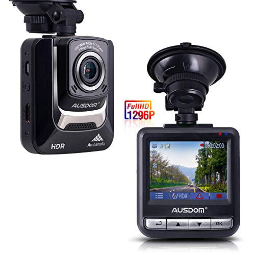 Ausdom AD282 Dash Cam, 2.4' LCD 2K Wide Angle Dashboard Camera Car Dvr with 1296 P Ambarella A7, G-Sensor, WDR, Loop Recording, Night Vision, 16 GB Card included