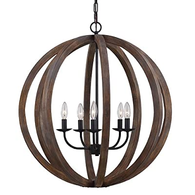 Feiss F2936/5WOW/AF 5-Bulb Chandelier Pendant, Large, Weather Oak Wood/Antique Forged Iron Finish