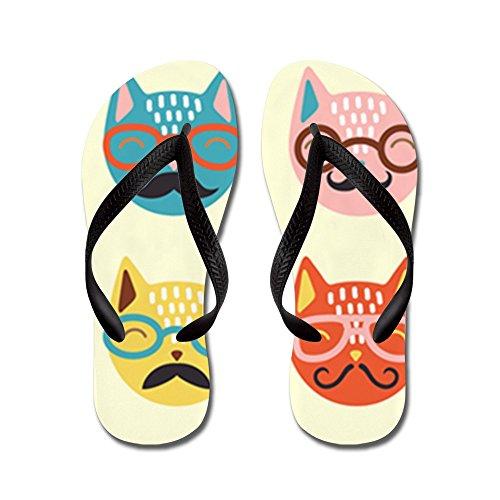 Cafepress Hipster Cats - Flip Flops, Grappige String Sandalen, Beach Sandalen Zwart