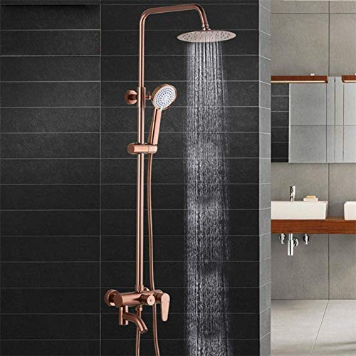 LIBINA - bathroom Shower Suit System, Round Copper and Antiqued Shower Set tap Rainforest Shower Rose Gold Bathroom Shower Faucet hot and Cold Pressure Showers