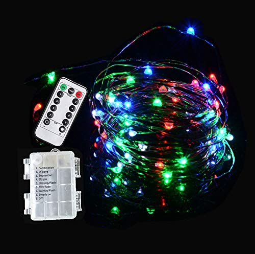 Viewpick Dimmable Fairy Lights Battery Operated 8 Modes 100 LEDs Copper Wire Starry Lights Firefly Lights Remote Control with Timer for Christmas Wedding Halloween Party Decor (Multi-Color) by Viewpick