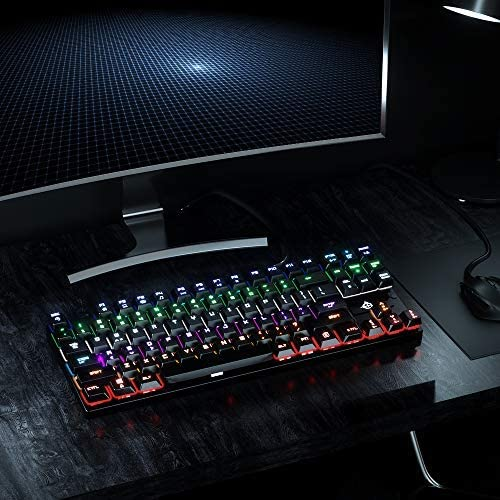 10 Kinds of Backlight Modes LED Backlit Anti Ghosting USB Wired Gaming Keyboard with 87 Keys STOGA Mechanical Gaming Keyboard Alloy Base