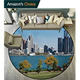 RUGSMAT Detroit Modern Machine Round Bath Mat,Industrial City Center Shoreline River Scenic Panoramic View in A Sunny Day Non-Slip No-Shedding Kitchen Soft Floor Mat,Round-47 Inch