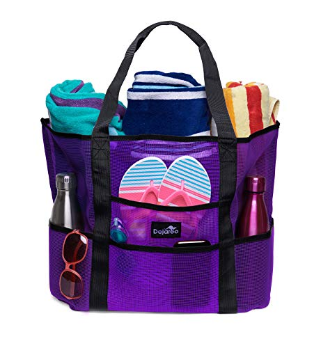 Dejaroo Mesh Beach Bag – Toy Tote Bag – Large Lightweight Market, Grocery & Picnic Tote with Oversized Pockets (Purple with Black Handles)