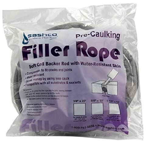 Sashco 30120 1-1/8-Inch by 10-Feet Pre-Caulking Filler Rope Backer Rod, Grey (Caulk Grey)