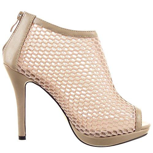 Sopily Zapatillas de Moda Tacón escarpín Botines Stiletto Low boots Tobillo  mujer fishnet Talón Tacón de aguja alto 11 CM Beige 1accfdcfa89d