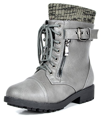 DREAM PAIRS Toddler Amazon-K Grey Girl's Mid Calf Combat Boots Size 9 M US Toddler ()