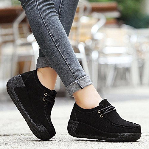 Womens Winter Wedge Heel Sneaker Espadrille Creeper Loafers Real Leather Platform Shoes