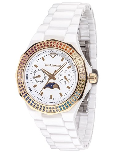 Yves Camani Laval YC1009-G Ladies Watch Quartz Analogue Ceramic White Rainbow