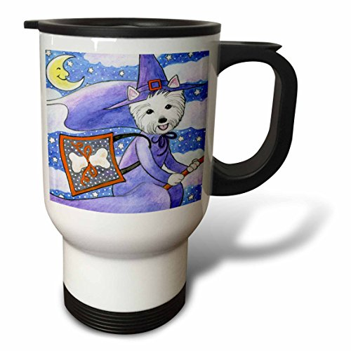 3dRose West Highland Terrier,  Westie in Witch Halloween Costume, Stainless Steel Travel Mug, 14-Oz]()