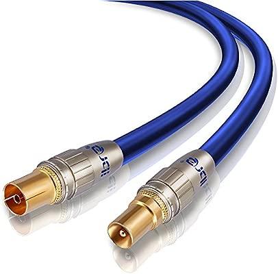 IBRA - 5m Cable de Antena HDTV Premium | Cable coaxial HDTV/Full HD | coaxial Macho en coaxial Hembra | UHF/RF/TDT | contactos Dorados | Azul
