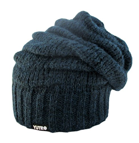YUTRO Fashion Women's Girl's Winter Slouchy Fleece Lined Wool Ski Beanie Skully Hat (One Size, Navy Blue)
